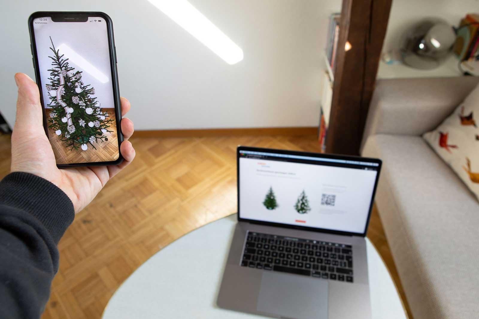 Coop Bau und Hobby Augmented Reality Weihnachtsbäume